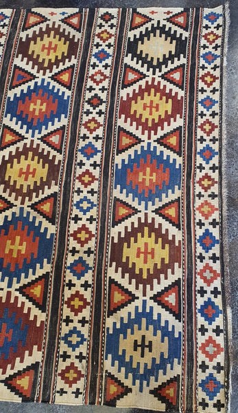 colorful brown blue beige kilim
