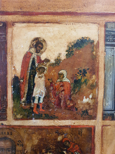 Russian Icon Depiction of the Life of Saint Nicholas