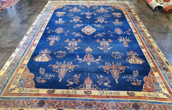 blue accent persian area rug
