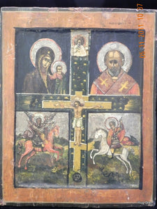 Russian Orthodox ICON Kazan Mother of God, St. Nicholas, St. George, and St. Michael.
