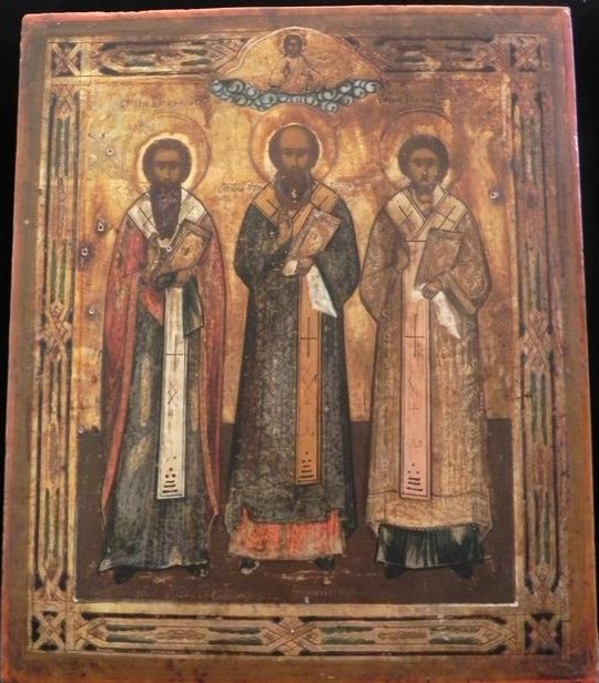 Antique Authentic Russian Religious Icon Depicting The Three Hierarchs