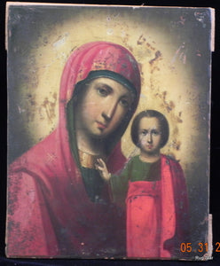mother and child religious art icon orthodox russian antique