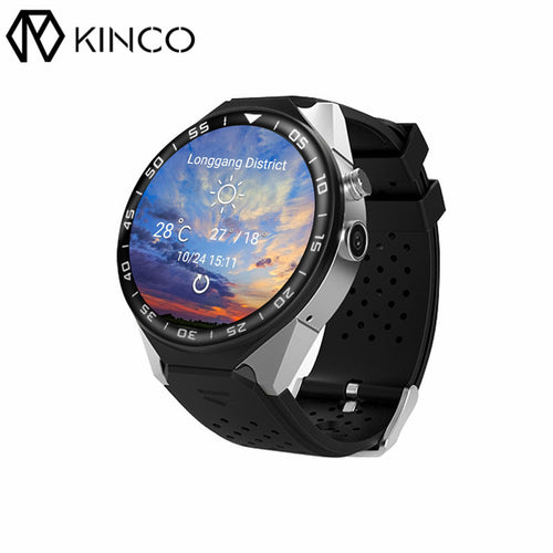KINCO 512MB+4GB MTK6580 GPS Wifi Music AMOLED SIM Camera Smart Phone Watch Heart Rate Monitor Pedometer Bracelet for IOS/Android