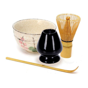 4Pcs/set Traditional Matcha Giftset Natural Bamboo Matcha Whisk Scoop Ceremic Matcha Bowl Whisk Holder Japanese Style Tea Sets