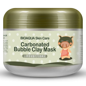 BIOAQUA Kawaii Black Pig Carbonated Bubble Clay Mask Winter Deep Cleaning Moisturizing Skin Care