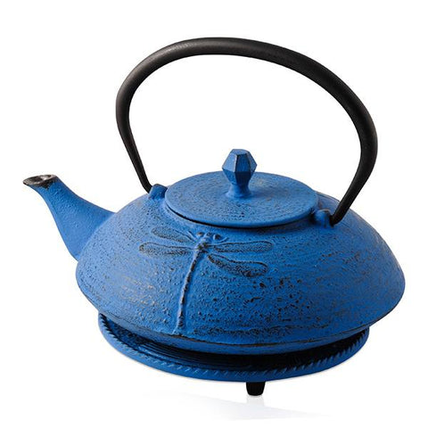 Blue Dragonfly Cast Iron Teapot