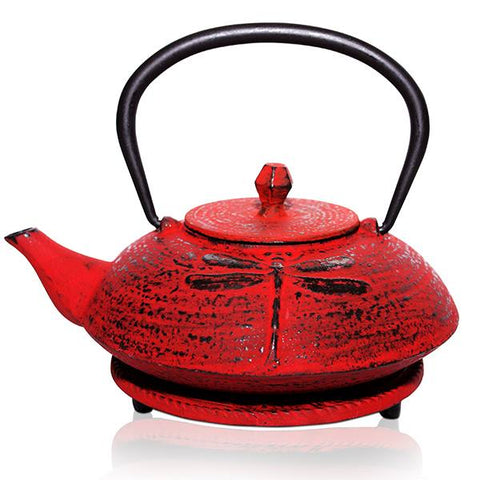 Red Dragonfly Cast Iron Teapot