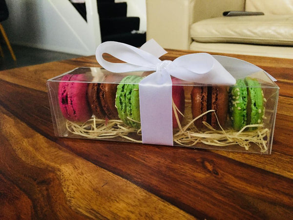 Gift wrapped box of macarons