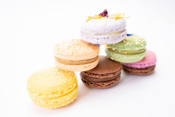 Pile of macarons showing real ingredients