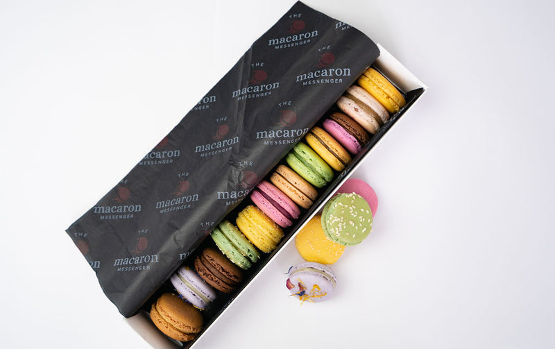 gift box of 12 assorted macaron flavours in packaging