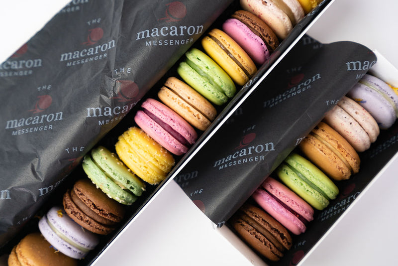 18 macarons of different flavours in a gift pack