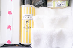 baby bairn white organic baby lotion products in a hand delivered gift hamper