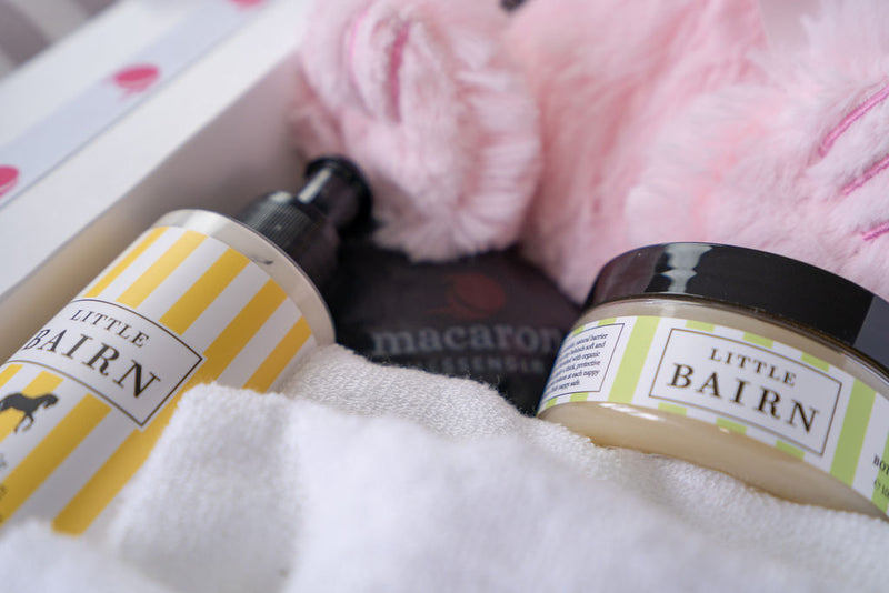 baby bairn organic baby lotion products in a gift hamper