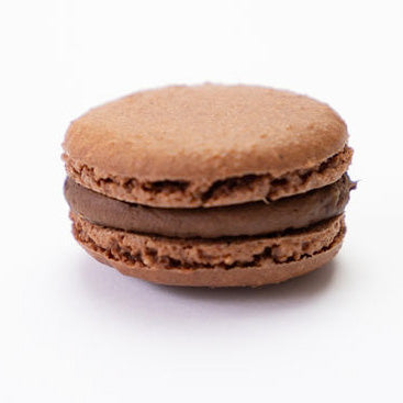 Belgian chocolate macaron close up
