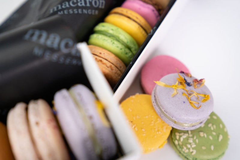 Arrangement of macaron gift boxes