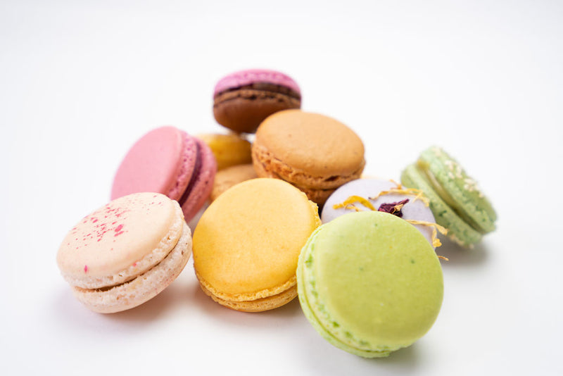 Pile of macarons with different flavours