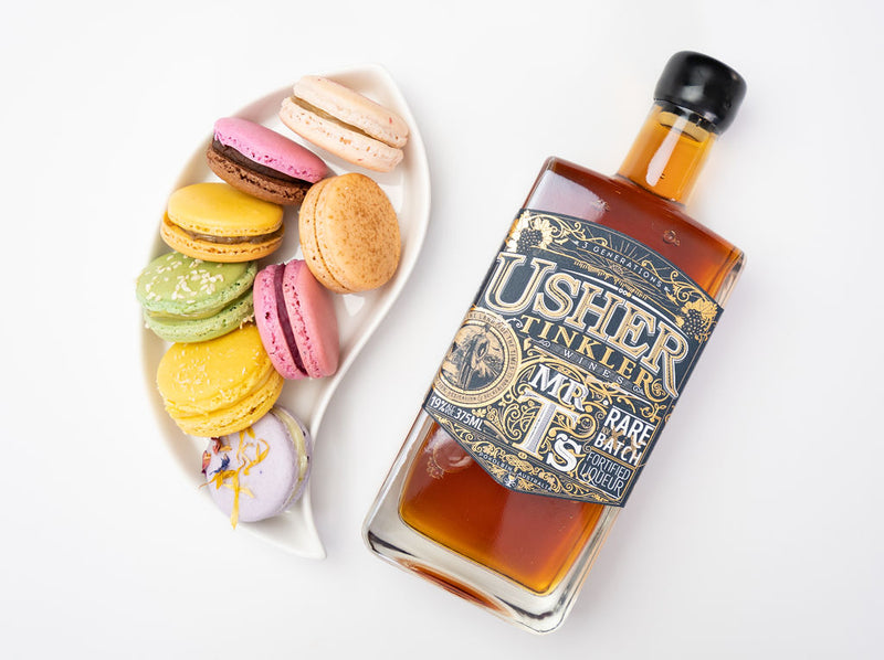 Usher Tinkler Mr T Port dessert wine with assorted macarons in serving dish