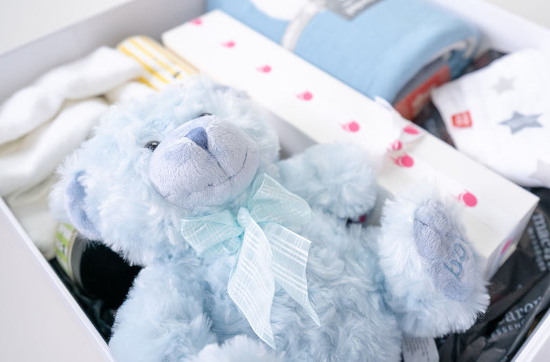 baby boy gift hamper with plush teddy and macarons closeup