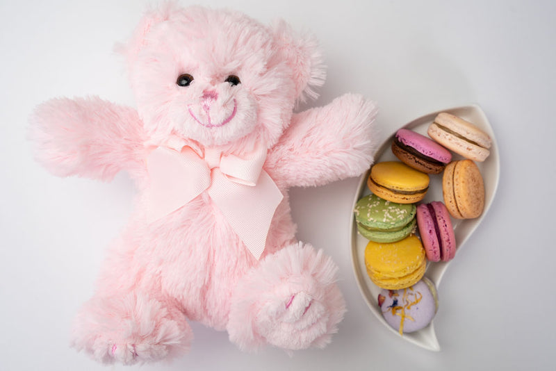 plush pink teddy bear with macarons in serving dish