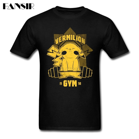 6c981334 Big Size Pokemon Pikachu Gyms Funny T Shirt Men White Short Sleeve Cotton Men  T-