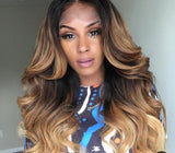 Ombré Lace Front Human Hair Wig With Baby Hairs