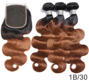 Human hair ombré straight bundle deal with Lace Closure