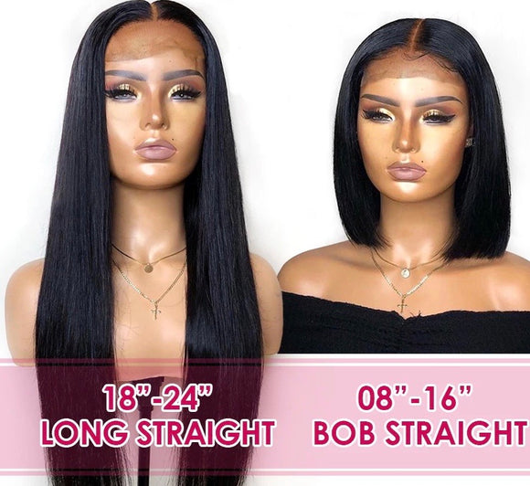 Virgin Peruvian Silky Straight Lace Front Wig With Baby Hair's