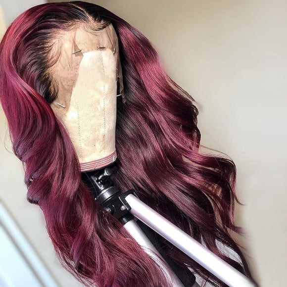 Virgin Remy Body Wave Burgundy Lace Front Human Hair Wig Pre -Plucked Baby Hair