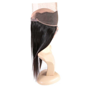 Pre Plucked 360 Lace Frontal Closure 100% Brazilian Straight Virgin Human Hair
