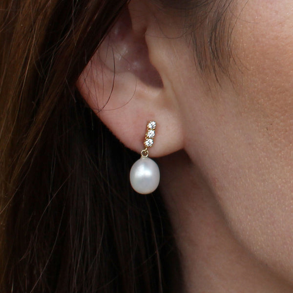 Freshwater Pearl Yellow Gold CZ Drop Studs