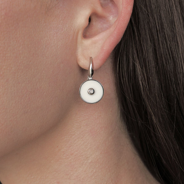 """Clarity"" White Onyx and Diamond Sterling Silver Earrings"