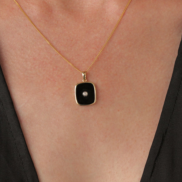 """Be the Light"" Black Onyx and Diamond Yellow Gold Rectangular Pendant (no chain)"