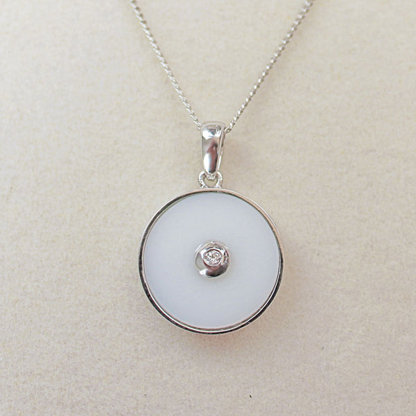 """Clarity"" White Onyx and Diamond Sterling Silver Pendant"