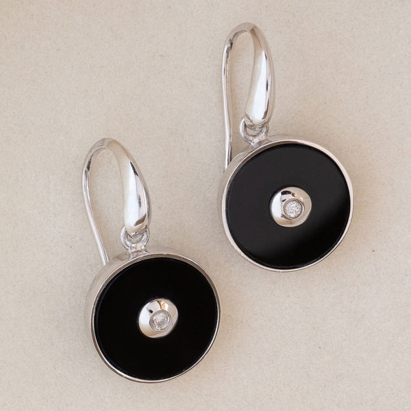 """Be the Light"" Black Onyx and Diamond Sterling Silver Earrings-Révélations Boutique"