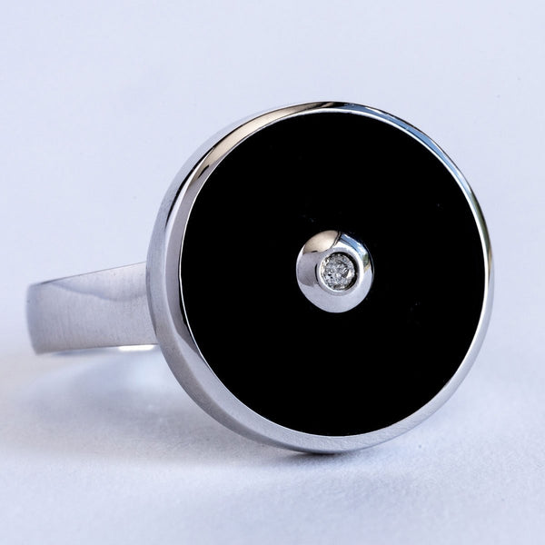 """Be the Light"" Black Onyx and Diamond Sterling Silver Ring-Révélations Boutique"