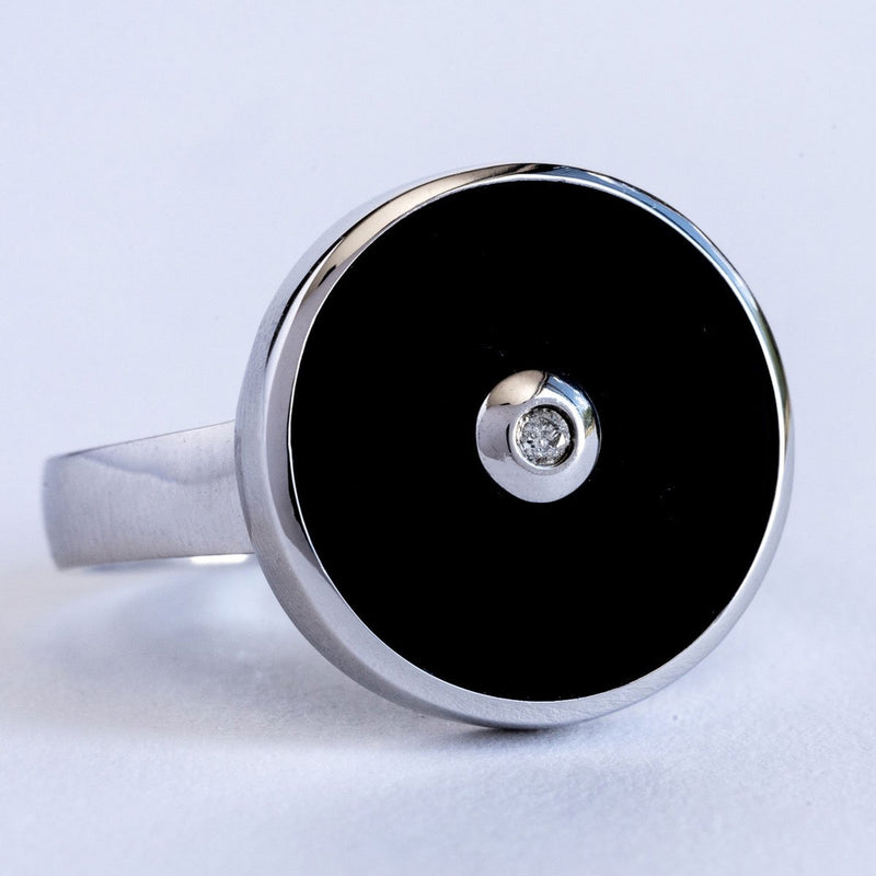 """Be the Light"" Black Onyx and Diamond Sterling Silver Ring - Révélations Boutique"