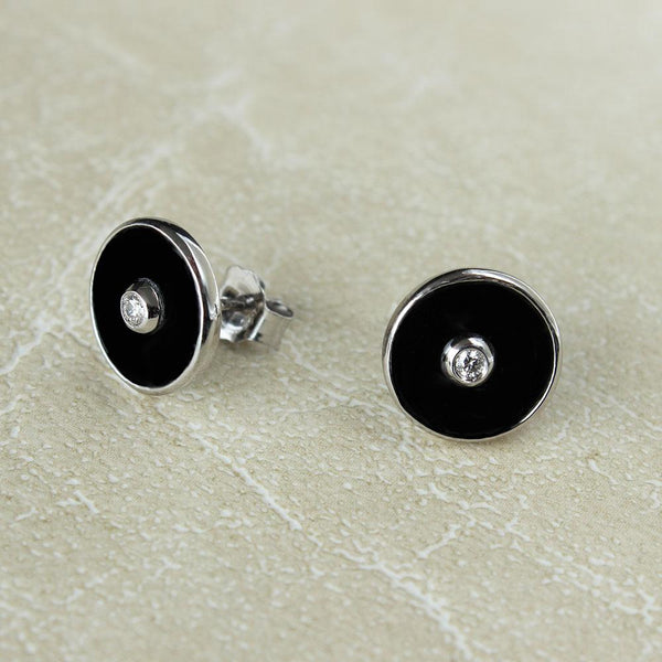 """Be the Light"" Black Onyx and Diamond Sterling Silver Stud Earrings-Révélations Boutique"