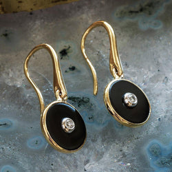 """Be the Light"" Black Onyx and Diamond Yellow Gold Earrings - Révélations Boutique"
