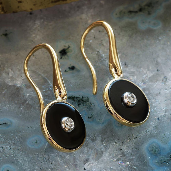 """Be the Light"" Black Onyx and Diamond Yellow Gold Earrings-Révélations Boutique"
