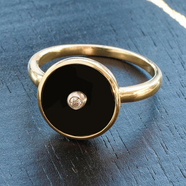 """Be the Light"" Black Onyx and Diamond Yellow Gold Ring - Révélations Boutique"