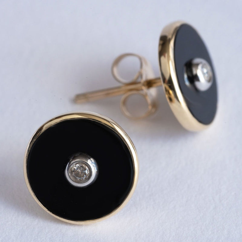 """Be the Light"" Black Onyx and Diamond Yellow Gold Stud Earrings - Révélations Boutique"