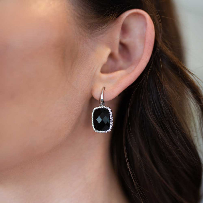 Cushion Cut Black Onyx Sterling Silver Earrings