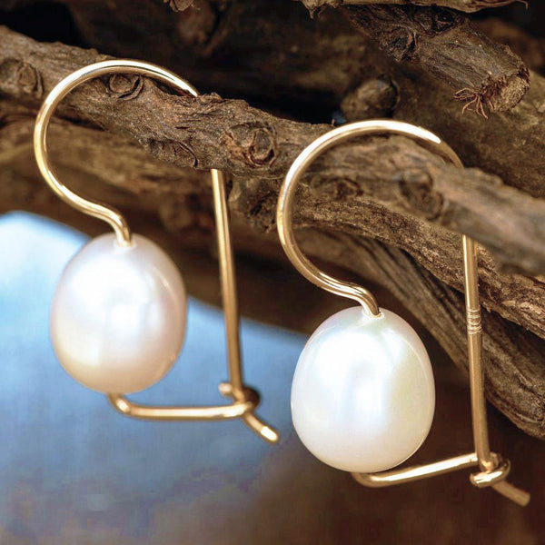 """Captivating Beauty"" Freshwater Pearl Euro Hook Yellow Gold Earrings-Révélations Boutique"