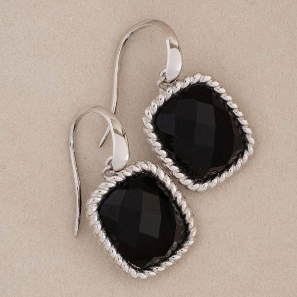 Cushion Cut Black Onyx Sterling Silver Earrings-Révélations Boutique