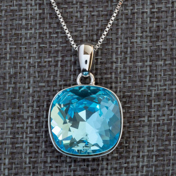"""Intuition"" Blue Swarovski Crystal Pendant (with Chain) - Révélations Boutique"
