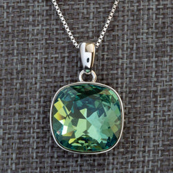 """Intuition"" Green Swarovski Crystal Pendant (with Chain) - Révélations Boutique"