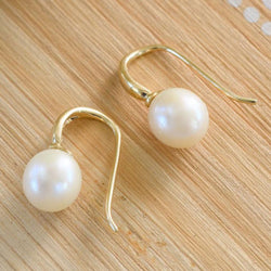 """Monday"" Freshwater Baroque Pearl Yellow Gold Earrings - Revelations Boutique"