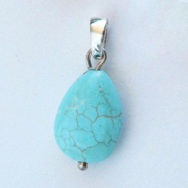 Natural Turquoise and Sterling Silver Pendant - Révélations Boutique