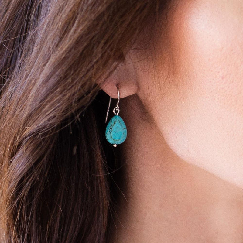Natural Turquoise and Sterling Silver Teardrop Earrings - Révélations Boutique