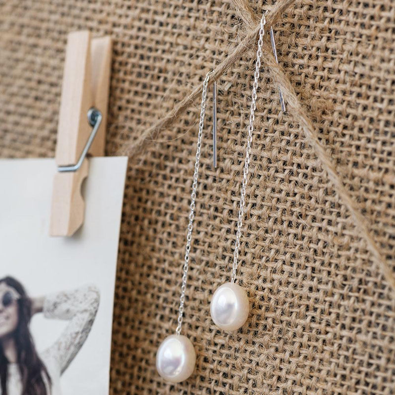 """Pearl Pendulum"" Freshwater Pearl Sterling Silver Chain Earrings-Révélations Boutique"